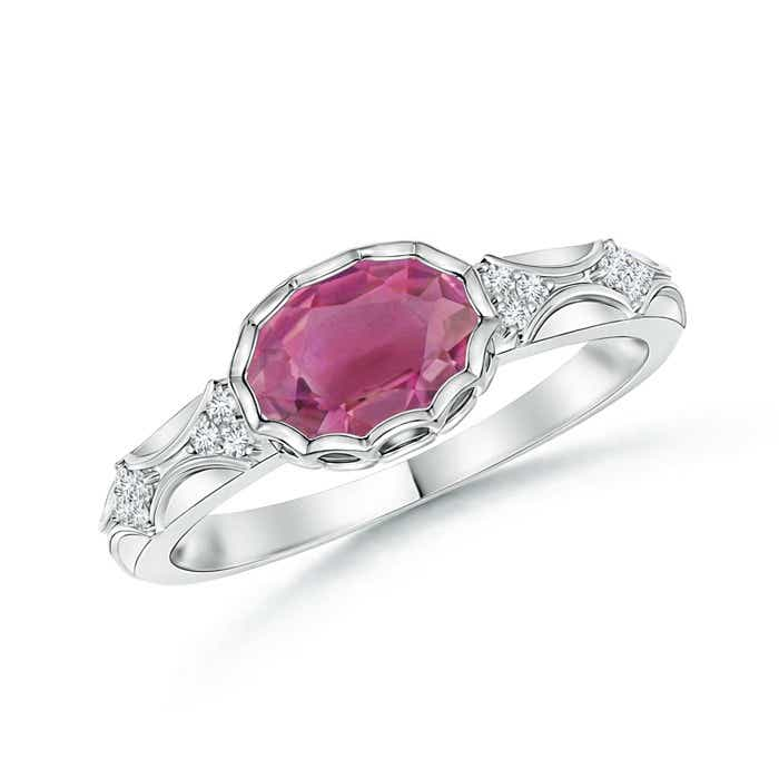 Angara Vintage Inspired Oval Pink Tourmaline Halo Ring in 14K White Gold