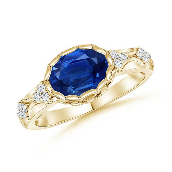Angara Solitaire Pear Blue Sapphire Vintage Ring with Diamond in Yellow Gold TxehO54