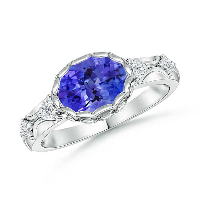 Angara Vintage Oval Tanzanite Bezel Ring with Diamond in White Gold eAzGtmCK