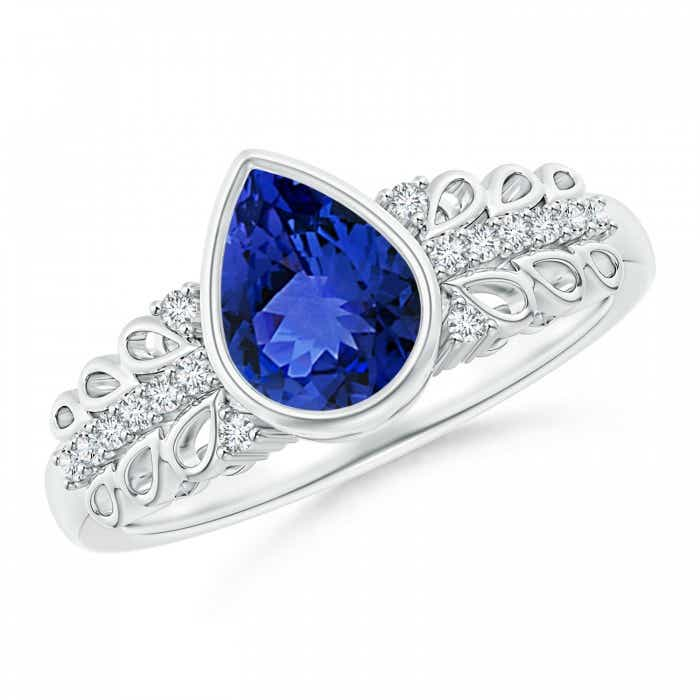 Angara Vintage Inspired Bezel Tanzanite and Diamond Ring in 14k White Gold kzkd5o8r8