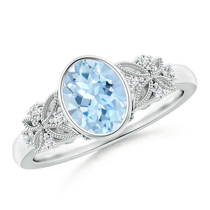 Angara Vintage Oval Aquamarine Bezel Ring with Diamond Accents r603K