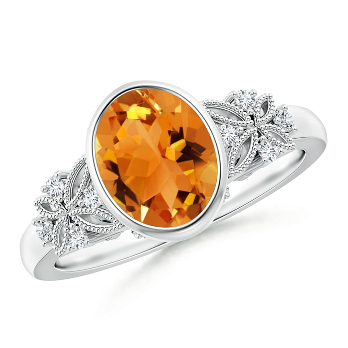 Angara Solitaire Oval Citrine Ring with Trio Diamond Accents in White Gold tJARHea