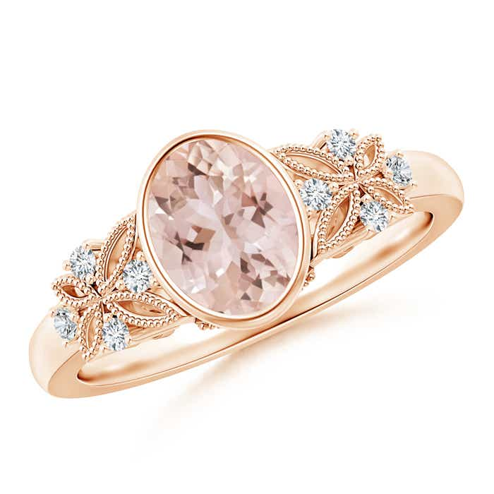 Angara Oval Morganite Ring in Yellow Gold akZWSPH