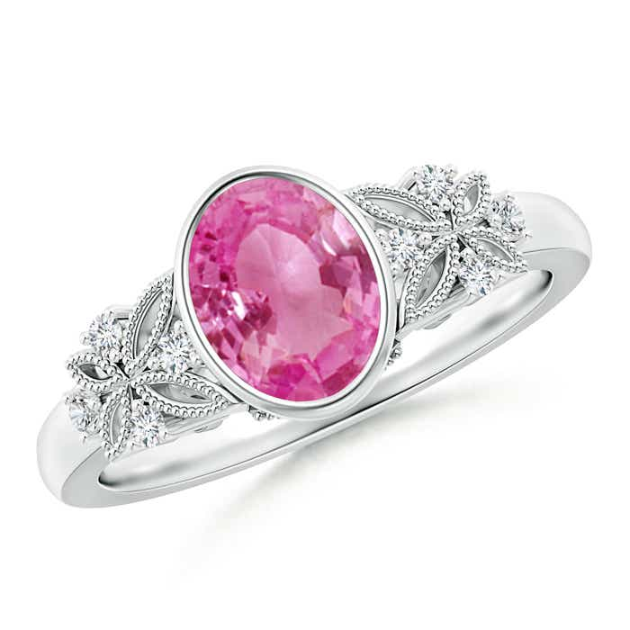 Angara Vintage Round Pink Sapphire Ring with Trio Diamond 91mLl