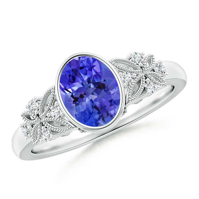 Angara Bezel-Set Oval Tanzanite Ring with Diamond Halo QIn57