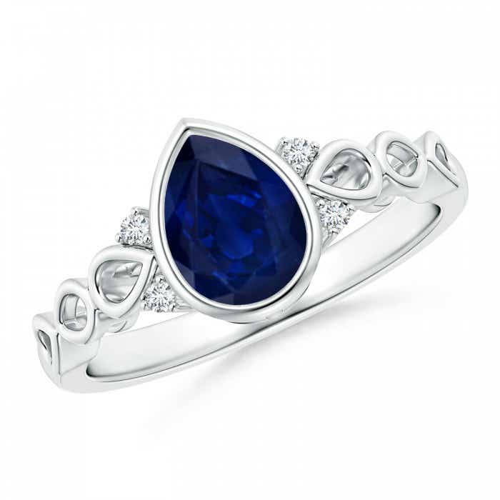 Angara Solitaire Pear Blue Sapphire Vintage Ring with Diamond in Yellow Gold Ca6QEA4cT