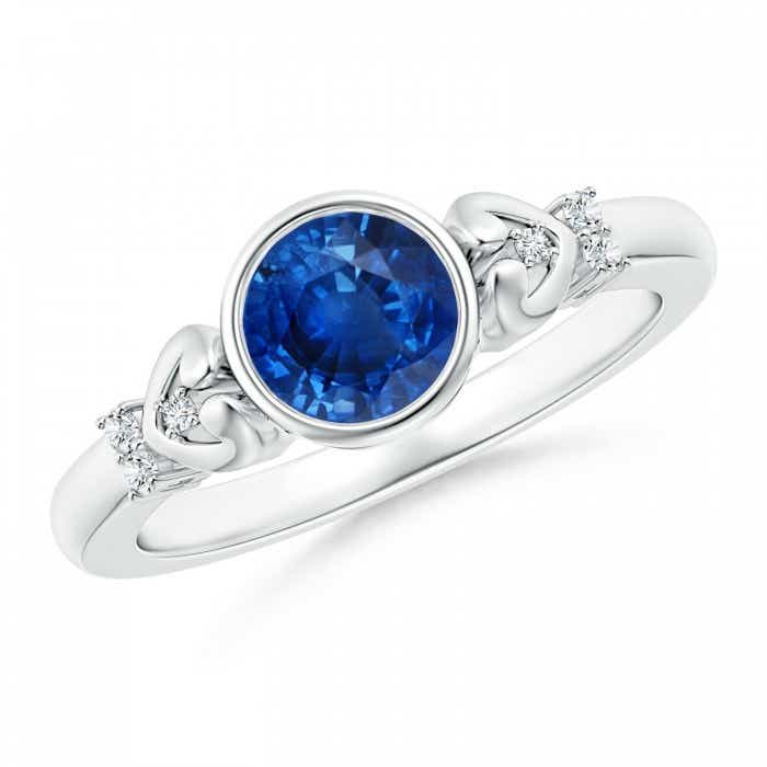 Angara Classic Bezel-Set Round Blue Sapphire Solitaire Ring