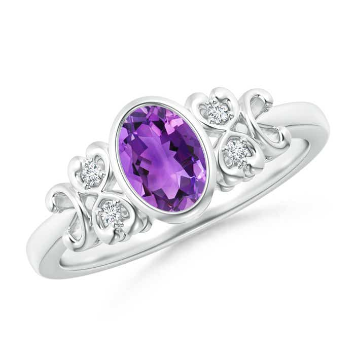 Angara Vintage Oval Amethyst Bezel Ring in Yellow Gold cfd8MGi