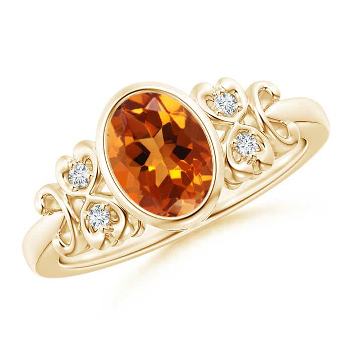 Angara Citrine Diamond Band Ring Set in White Gold 35DHEDg0