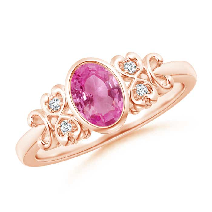 Angara Pink Sapphire and Diamond East West Ring in Platinum