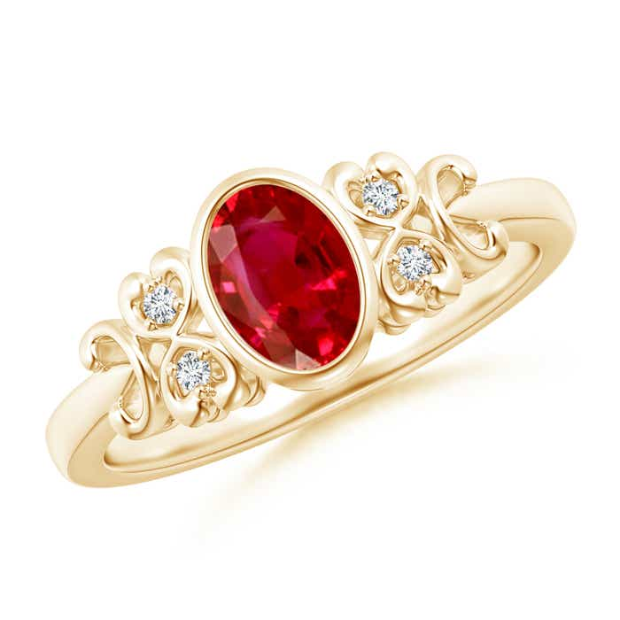 Angara Bezel Ruby and Diamond Vintage Inspired Ring in 14k White Gold 0PGy60nak