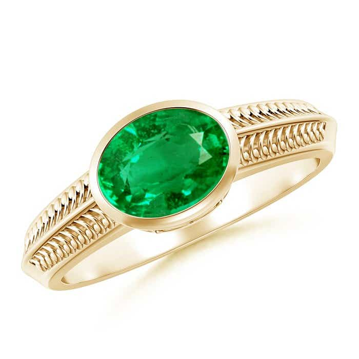 Angara Vintage Inspired Emerald Ring with Bezel-Setting in 14k Yellow Gold OP4528fC