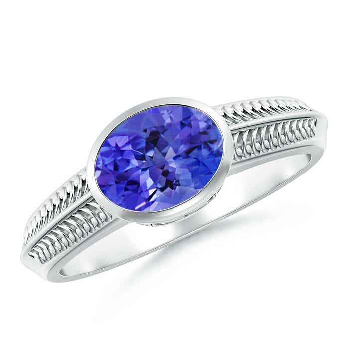 Angara Bezel Oval Tanzanite and Diamond Ring in White Gold yTD5vy