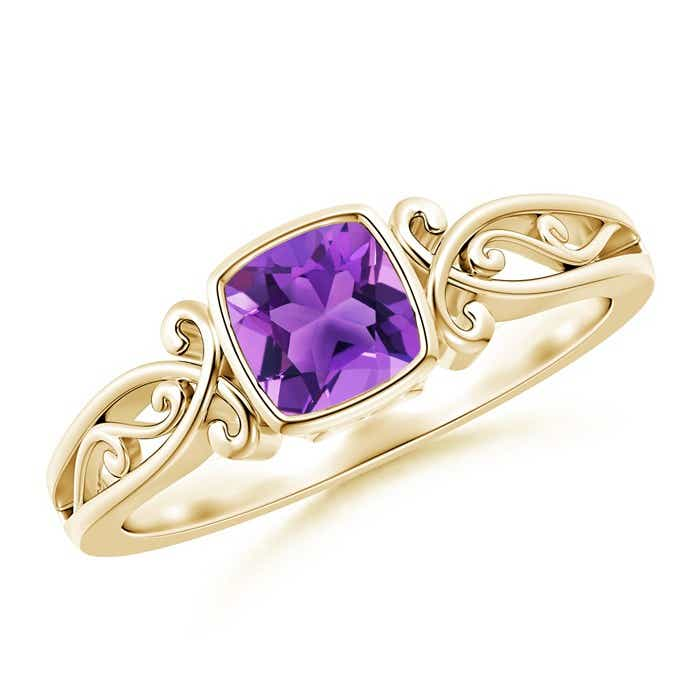Angara Cushion Amethyst Solitaire Ring in 14k White Gold n50G4D3a
