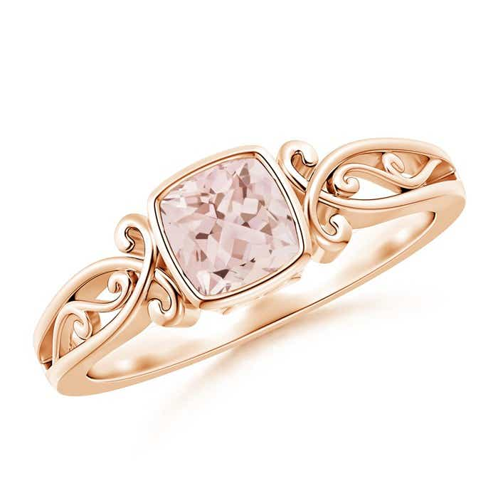 Angara Split Shank Vintage Morganite Ring in Platinum 0368XkkX2
