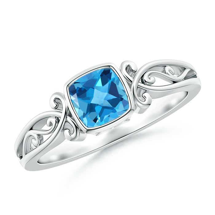 Angara Swiss Blue Topaz and Diamond Cushion Halo Ring with Milgrain 30C7dI