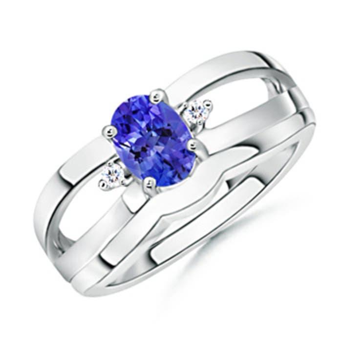 Angara Split Shank Tanzanite Engagement Ring with Wedding Band BkozP