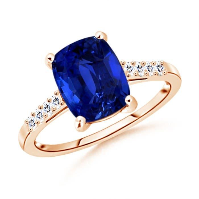 Angara Sapphire Ring - Classic GIA Certified Rectangular Cushion Sapphire Ring 5ri5YVN