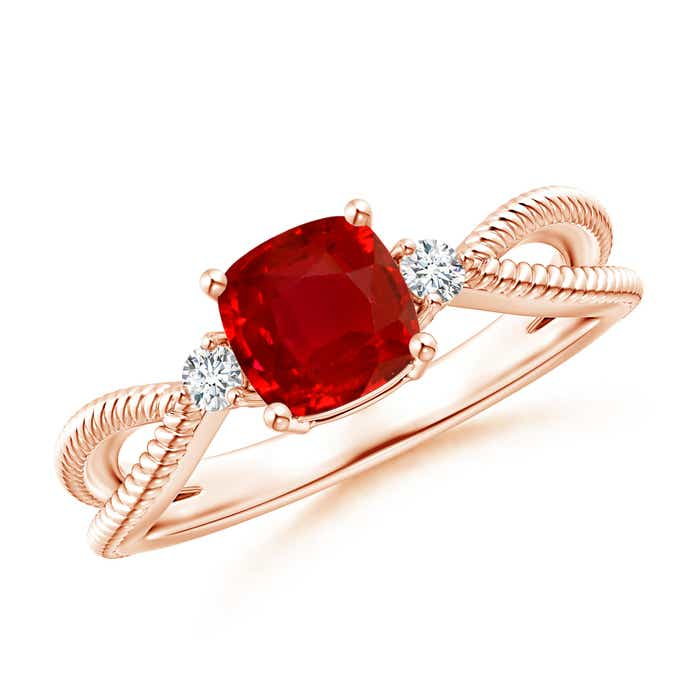 Angara Cushion Ruby Solitaire Engagement Ring in 14k Yellow Gold