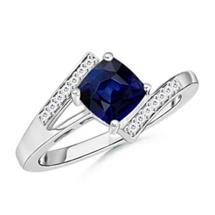 Angara Pear Sapphire Solitaire Ring With Trio Diamond Accents in White Gold RdEhll