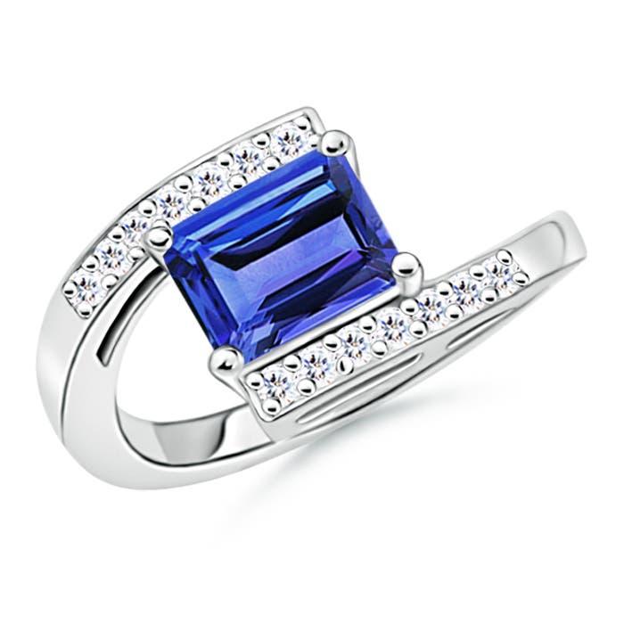 Angara Tapered Shank Tanzanite Diamond Ring in Platinum mvtntmNq