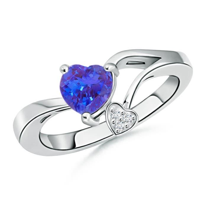 Angara Solitaire Bezel Heart Tanzanite Ring with Diamond in White Gold 6WO9rvJ