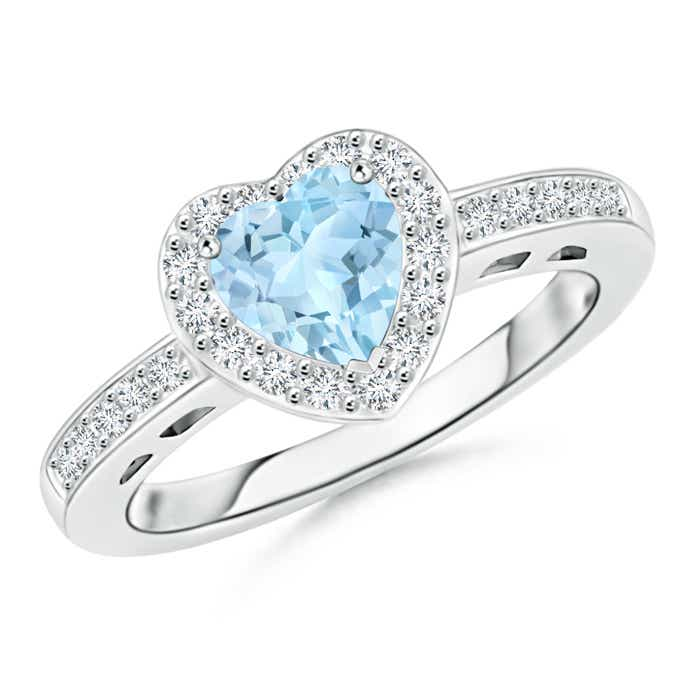 Angara Aquamarine Diamond Halo Ring in Platinum ar1Ahjop