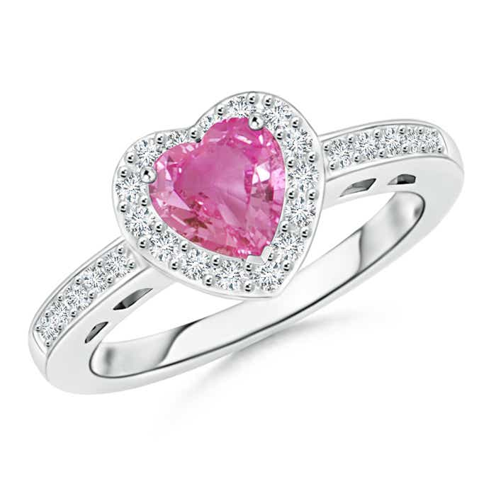 Angara Heart Shaped Pink Sapphire Halo Ring with Diamond Accents PUel4JknX