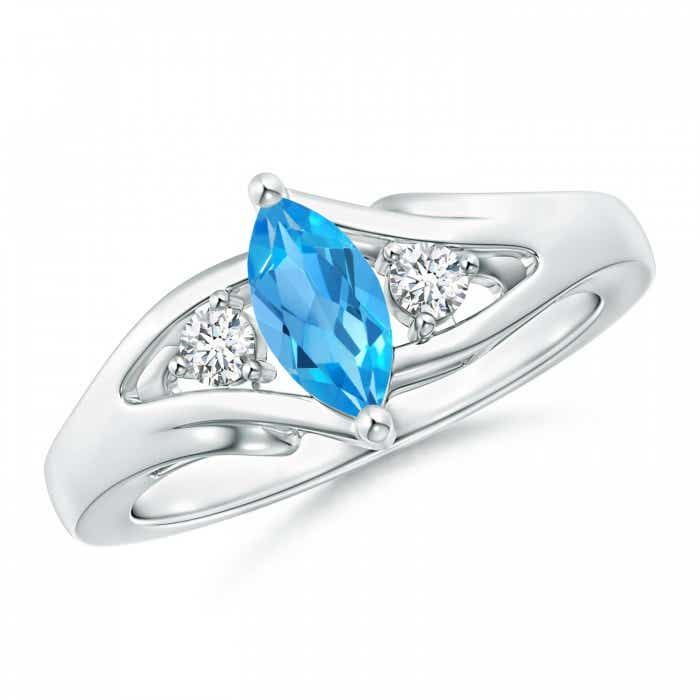 Angara Marquise Swiss Blue Topaz Ring in White Gold 9TcbxeSD