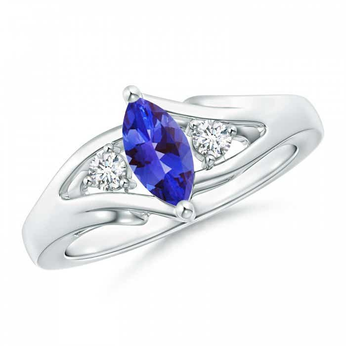 Angara Solitaire Tanzanite Split Shank Ring with Diamond in Yellow Gold J4Rrk9XkX