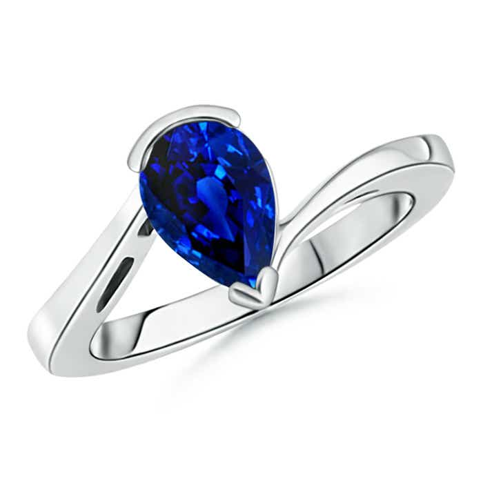 Angara Solitaire Oval Blue Sapphire Bypass Ring in 14K Yellow Gold