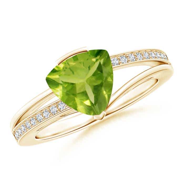 Angara Trillion Peridot and Round Diamond Split Shank Ring g2jN2J
