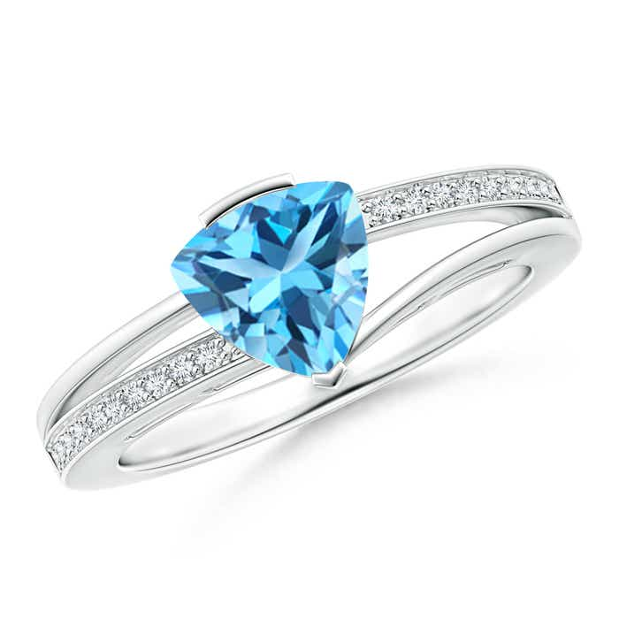 Angara Split Shank Trillion Swiss Blue Topaz Ring XtpUJAjg7