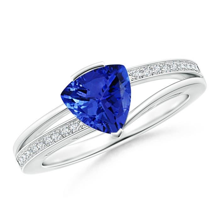 Angara Trillion Amethyst and Round Diamond Split Shank Ring 38b6NrlF0z