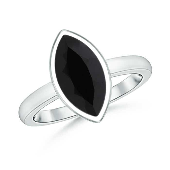 Angara Black Onyx Solitaire Ring with Diamond Accent in White Gold