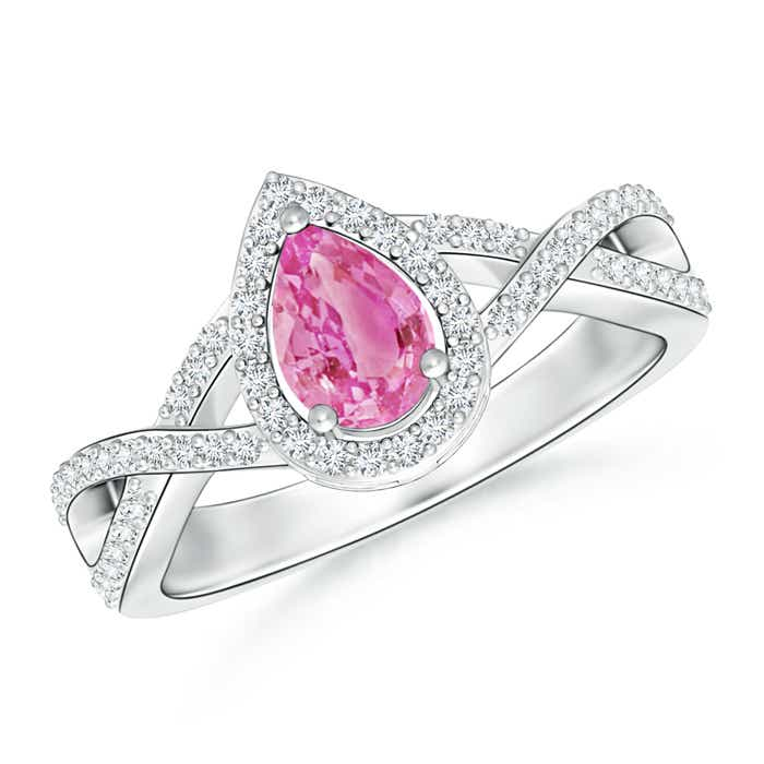 Angara Classic Pear Pink Sapphire Solitaire Ring in 14k Yellow Gold juTUlD