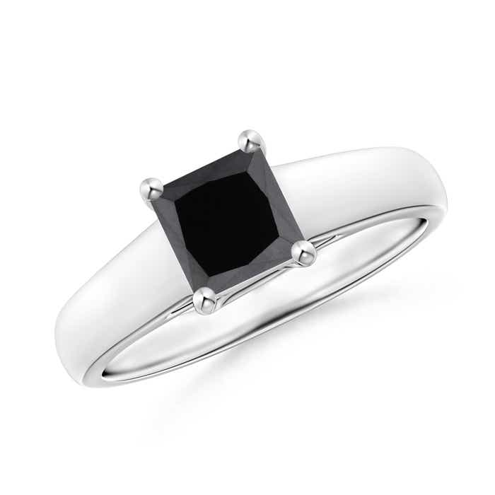 Angara Solitaire Enhanced Black Diamond Crossover Ring in Platinum YkvETrF5