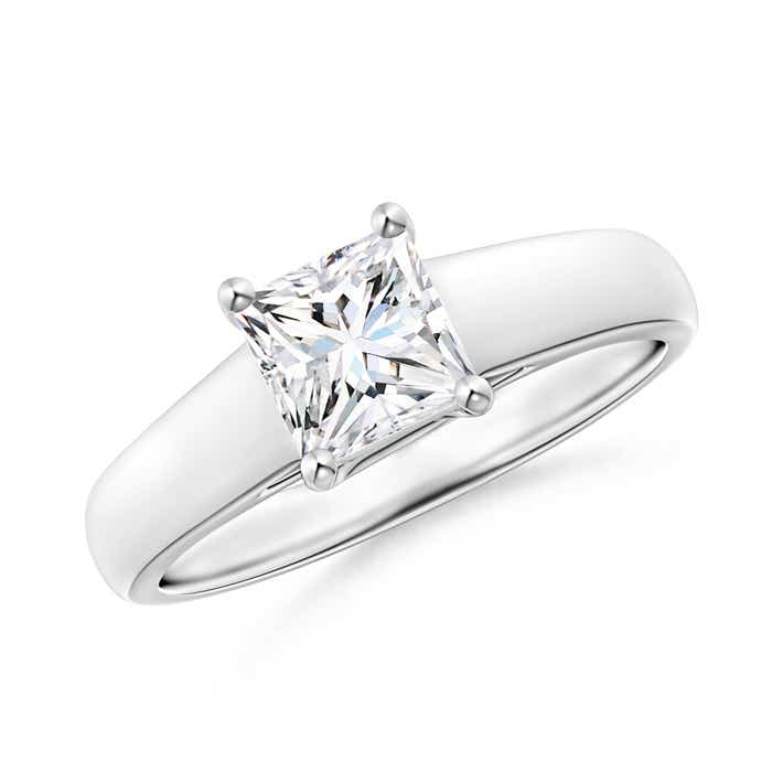Angara Moissanite Solitaire Engagement Ring in White Gold hLQA4