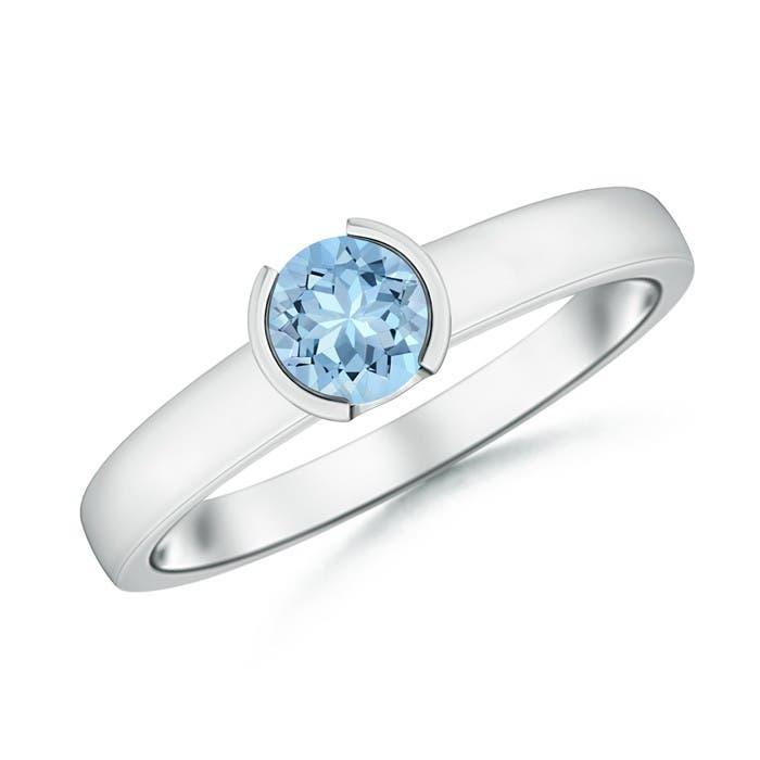 Angara Classic Solitaire Half Bezel Aquamarine Engagement Ring VNMBN2Z