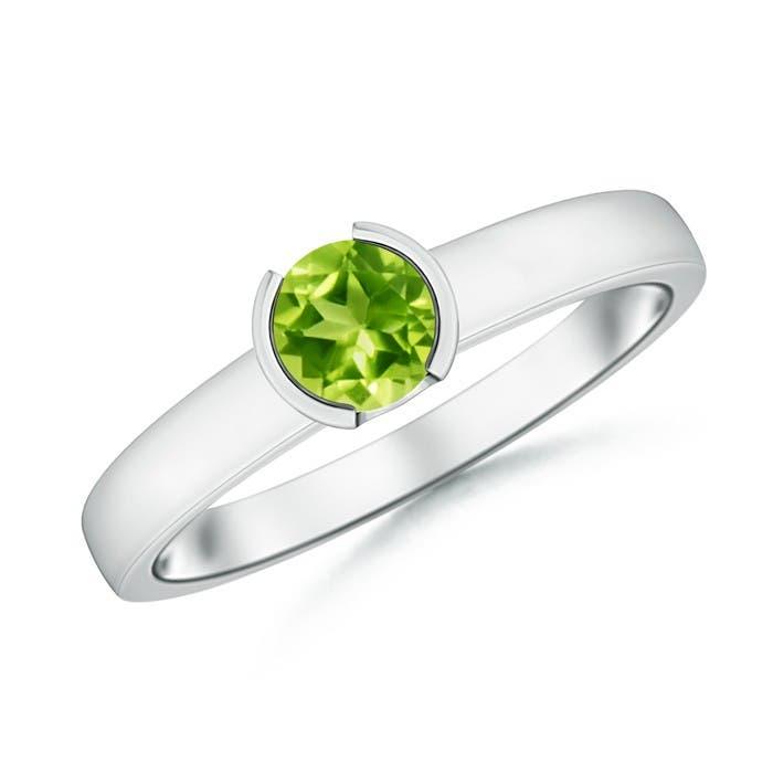Angara Peridot Engagement Ring With Diamond in Platinum pxI9Yczr8