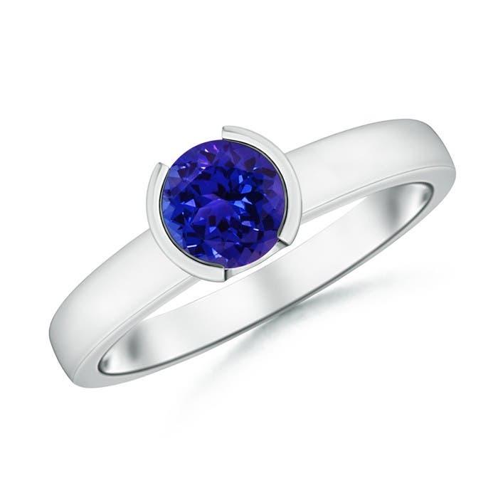 Angara Solitaire Natural Tanzanite Bypass Ring with Diamond in Platinum If4yjg7