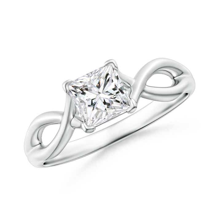 Angara Celtic Knot Diamond Solitaire Ring in Platinum kgcwV