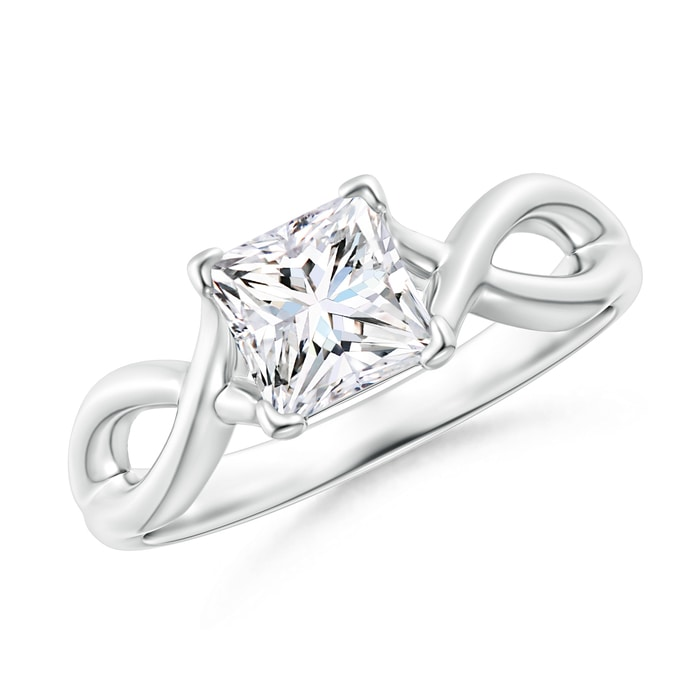 Angara Solitaire Moissanite Infinity Knot Ring in Platinum