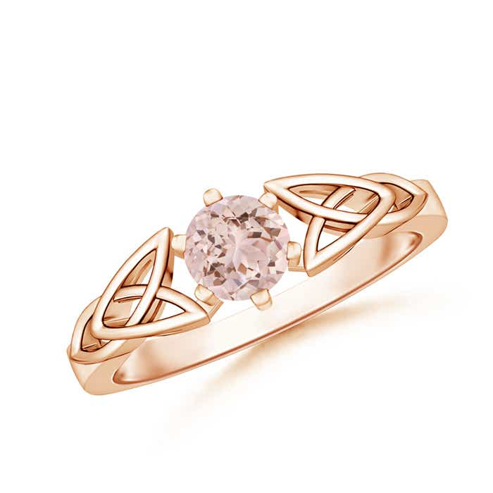 Angara Morganite Diamond Band Ring Set in Platinum