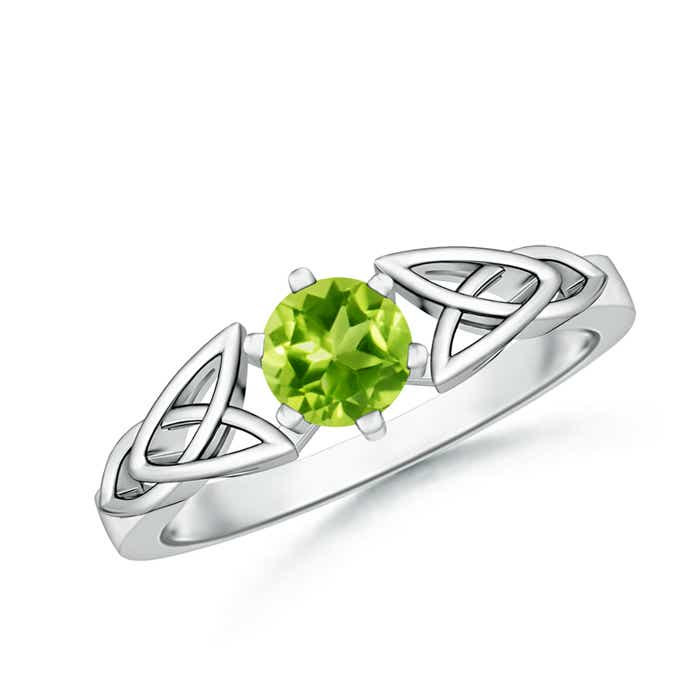 Angara Solitaire Round Peridot Celtic Knot Ring