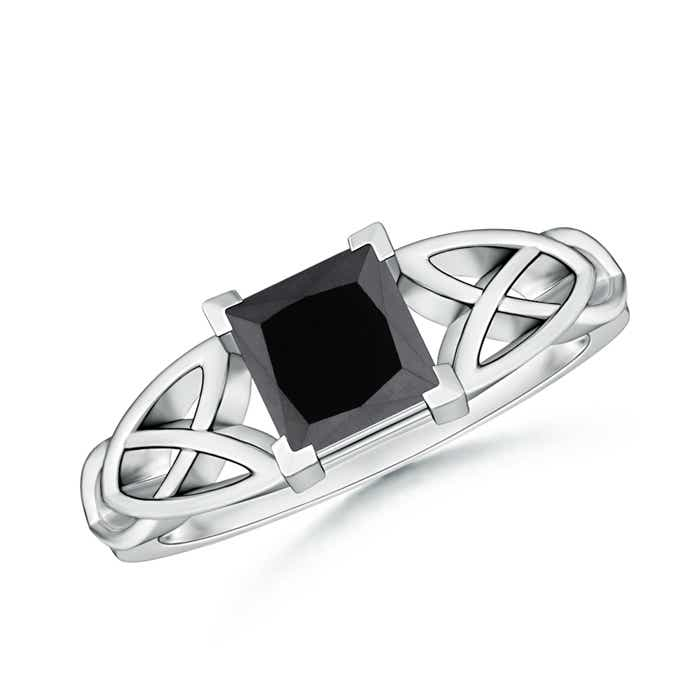 Angara Enhanced Black Diamond Ring With Diamond Shoulders in White Gold OHqOQ92HC