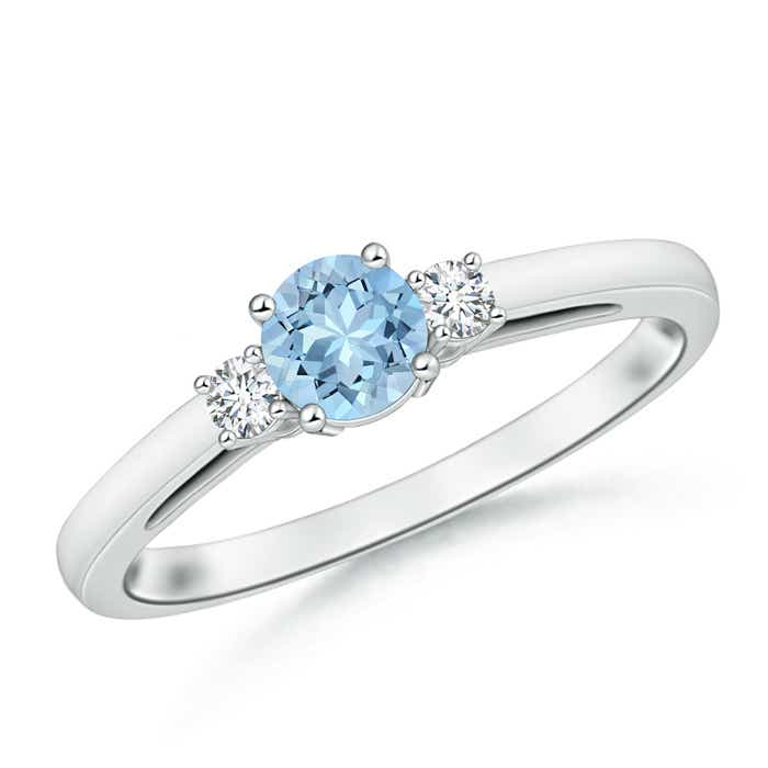 Angara Round Aquamarine Crossover Ring in Platinum mNOrsw8