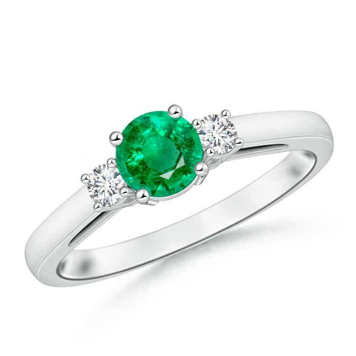 Angara Round Emerald Past Present Future Engagement Ring MhrFepQa