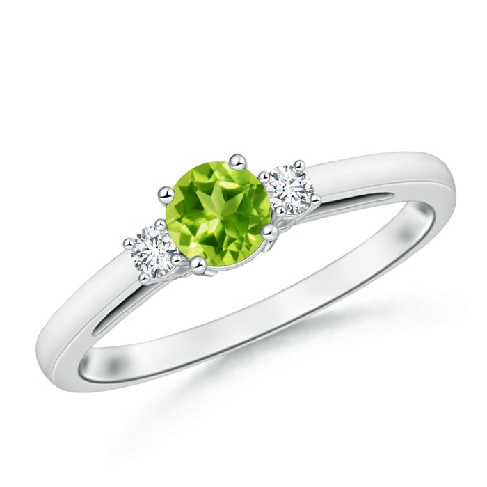 Angara Diamond and Peridot Three Stone Ring in White Gold