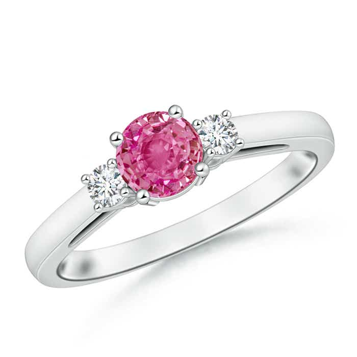 Angara Cathedral Pink Tourmaline and Diamond Three Stone Ring in White Gold CSW1cg1jxJ